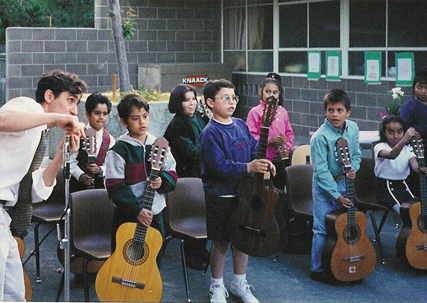 Founder David Wish with his first guitar class