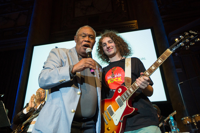 Sam Moore with Little Kids Rock Student Ian Ackerman