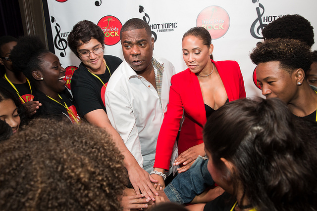 """Little Kids Rock on three!"" Students meet Tracy Morgan before the show."